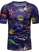 hesapli Erkek Tişörtleri ve Atletleri-Erkek Yuvarlak Yaka Tişört Desen, 3D / Hayvan Temel / Sokak Şıklığı Havuz / Kısa Kollu