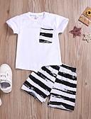 זול סטים של ביגוד לתינוקות-סט של בגדים שרוולים קצרים פסים בנים תִינוֹק
