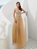 זול שמלות שושבינה-גזרת A עם תכשיטים עד הריצפה טול ערב רישמי שמלה עם חרוזים / פרטים מקריסטל על ידי LAN TING Express