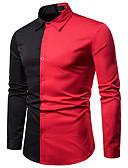 abordables Chemises Homme-Chemise Homme, Couleur Pleine / Bloc de Couleur Mosaïque Basique / Chic de Rue Blanc L