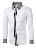 お買い得  メンズシャツ-男性用 シャツ ベーシック Vネック ソリッド ホワイト