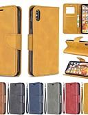 זול מגנים לאייפון-מארז לגוף iPhone xr / iPhone xs מקס / Flip / shockproof מלא גוף המקרים מוצק צבעוני קשה pu עור עבור iPhone xs / x / 8 פלוס / 7 / 6s פלוס / 6/5 / 5s / se