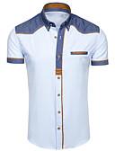 hesapli Erkek Gömlekleri-Erkek Klasik Yaka Gömlek Solid Temel AB / ABD Beden Beyaz / Kısa Kollu