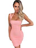 hesapli Kadın Elbiseleri-Kadın's Sokak Şıklığı İnce Kılıf Elbise - Solid Boyundan Bağlamalı Diz üstü Gül kurusu