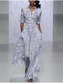 hesapli Gece Elbiseleri-A-Şekilli V Yaka Bilek Boyu Polyester Tema / Baskı ile Kokteyl Partisi / Tatil Elbise tarafından LAN TING Express