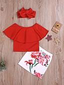 זול שמלות לבנות-סט של בגדים כותנה שרוולים קצרים טלאים / דפוס אחיד / פרחוני בסיסי / סגנון רחוב בנות ילדים / פעוטות