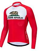 זול להקות Smartwatch-21Grams הרפובליקה של קליפורניה בגדי ריקוד גברים שרוול ארוך חולצת ג'רסי לרכיבה - אדום /  לבן אופניים ג'רזי צמרות נושם פתילת לחות ייבוש מהיר ספורט טרילן רכיבת הרים ביגוד / מיקרו-אלסטי / מידת Race Fit