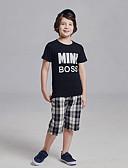 זול ילדים כובעים ומצחיות-סט של בגדים כותנה שרוולים קצרים דפוס פעיל / בסיסי בנים ילדים / פעוטות