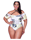 זול בגדי ים במידות גדולות-לבן XL XXL XXXL דפוס גיאומטרי, בגדי ים חלק אחד (שלם) נועזת לבן בסיסי בגדי ריקוד נשים