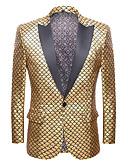זול ז'קטים-סגול / צהוב / אדום אחיד גזרה רגילה פוליאסטר חליפה - סגור Single Breasted One-button