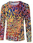 זול טישרטים לגופיות לגברים-קולור בלוק / 3D / חיה צווארון עגול בסיסי / סגנון רחוב מידות גדולות טישרט - בגדי ריקוד גברים דפוס כחול נייבי / שרוול ארוך