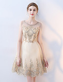 זול שמלות ערב-גזרת A עם תכשיטים באורך  הברך טול שמלה לשושבינה  עם סרט על ידי LAN TING Express