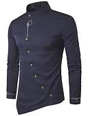 hesapli Erkek Gömlekleri-Erkek Pamuklu Dik Yaka Gömlek Solid Temel / Zarif Gri / Uzun Kollu
