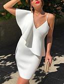 זול שמלות NYE-שמלת חולצת ברך לנשים, לבנה לבנה