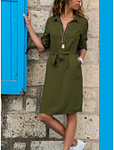 tanie Sukienki-Damskie Podstawowy Moda miejska Pochwa Koszula Sukienka - Solidne kolory Nad kolano