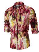 hesapli Tişört-Erkek Pamuklu Alttan Düğmeli Yaka Gömlek Desen, Grafik Temel / Çin Stili AB / ABD Beden Havuz / Uzun Kollu