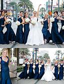 preiswerte Brautjungfernkleider-Trompete / Meerjungfrau Tiefer Ausschnitt Boden-Länge Satin Brautjungfernkleid mit Horizontal gerüscht durch JUDY&JULIA