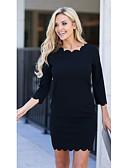 hesapli Maksi Elbiseler-Kadın's A Şekilli Elbise - Solid Diz üstü