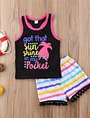 זול שמלות לבנות-סט של בגדים כותנה שרוולים קצרים דפוס פעיל / בסיסי בנות ילדים / פעוטות