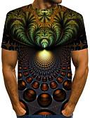 """זול חולצות לגברים-קולור בלוק / 3D / גראפי צווארון עגול סגנון רחוב / מוּגזָם מועדונים האיחוד האירופי / ארה""""ב גודל טישרט - בגדי ריקוד גברים דפוס תלתן / שרוולים קצרים"""