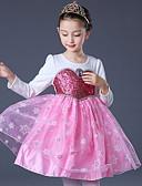 זול שמלות לילדות פרחים-נסיכה מעל הברך שמלה לנערת הפרחים  - טול / נצנצים / תערובת פולי וכותנה שרוול ארוך עם תכשיטים עם Paillette על ידי LAN TING Express