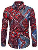 """זול חולצות פולו לגברים-משובץ דמקה האיחוד האירופי / ארה""""ב גודל כותנה, חולצה - בגדי ריקוד גברים אודם / שרוול ארוך"""