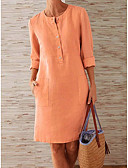 hesapli Mini Elbiseler-Kadın's Kombinezon Elbise - Solid Diz-boyu