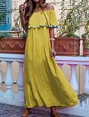 hesapli Print Dresses-Kadın's Bohem Çan Elbise - Solid, Dantel Düşük Omuz Maksi