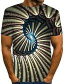 """זול חולצות לגברים-קולור בלוק / 3D / גראפי צווארון עגול סגנון רחוב / מוּגזָם מועדונים האיחוד האירופי / ארה""""ב גודל טישרט - בגדי ריקוד גברים דפוס ירוק בהיר / שרוולים קצרים"""