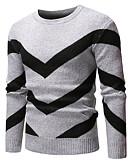 저렴한 남성 스웨터 & 가디건-남성용 솔리드 긴 소매 풀오버, 라운드 넥 네이비 블루 / 그레이 / 와인 US34 / UK34 / EU42 / US36 / UK36 / EU44 / US38 / UK38 / EU46