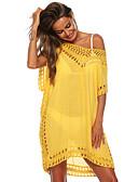 hesapli Tişört-Kadın's Temel Zarif Kombinezon Tunik Elbise - Solid, Şalter Diz üstü
