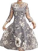 abordables Bodys-Femme Basique Mi-long Balançoire Robe - Maille Mosaïque Brodée, Fleur Bloc de Couleur Blanc Gris Jaune L XL XXL Manches 3/4