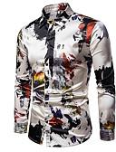 hesapli Erkek Tişörtleri ve Atletleri-Erkek Gömlek Ekose / Grafik Rock Yıldızı / Punk ve Gotik Bej / Uzun Kollu