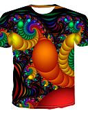 זול טישרטים לגופיות לגברים-גיאומטרי / 3D צווארון עגול פאנק & גותיות כותנה, טישרט - בגדי ריקוד גברים דפוס קשת / שרוולים קצרים