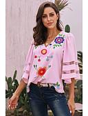 hesapli Tişört-Kadın's V Yaka Gömlek Desen, Çiçekli Temel Siyah