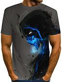 povoljno Muške majice i potkošulje-Majica s rukavima Muškarci - Ulični šik / pretjeran Ulica / Klub Color block / 3D / Lubanje Print Tamno siva US40 / UK40 / EU48