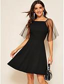 hesapli Mini Elbiseler-Kadın's Temel A Şekilli Elbise - Solid, Dantel Diz üstü