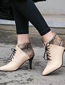 hesapli NYE Elbiseleri-Kadın's Çizmeler Stiletto Topuk Sivri Uçlu PU Bootiler / Bilek Botları İş / Klasik Sonbahar Kış Siyah / Badem / Kırmzı / Parti ve Gece