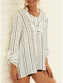hesapli Tişört-Kadın's V Yaka Salaş - Bluz Desen, Çizgili Temel / Zarif Siyah ve Beyaz Beyaz