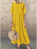 hesapli Kadın Elbiseleri-Kadın's Çan Elbise - Yuvarlak Noktalı Maksi