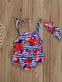 זול אוברולים טריים לתינוקות-חליפת גוף ללא שרוולים פסים / פרחוני / דפוס בנות תִינוֹק 2pcs