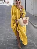 levne Maxi šaty-Dámské Elegantní Swing Šaty - Jednobarevné, Šněrování Maxi