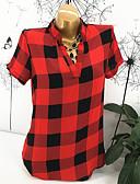 hesapli Tişört-Kadın's V Yaka Salaş - Tişört Kırk Yama / Desen, Kareli Sokak Şıklığı Dışarı Çıkma Siyah & Kırmızı / Siyah ve Beyaz Yonca