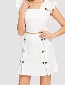 hesapli Romantik Dantel-Kadın's İki Parça Elbise - Solid, Fırfırlı Diz üstü