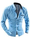 """זול חולצות לגברים-מנוקד האיחוד האירופי / ארה""""ב גודל חולצה - בגדי ריקוד גברים לבן / שרוול ארוך"""