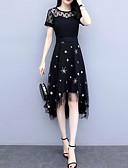 hesapli Print Dresses-Kadın's Temel A Şekilli Elbise - Yuvarlak Noktalı Asimetrik