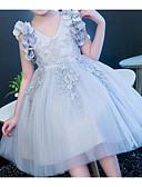 זול שמלות לילדות פרחים-נסיכה באורך  הברך שמלה לנערת הפרחים  - פוליאסטר / טול ללא שרוולים צווארון V עם אפליקציות / תחרה על ידי LAN TING Express