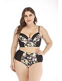 זול בגדי ים במידות גדולות-שחור XL XXL XXXL דפוס גיאומטרי חיה שבטי, בגדי ים טנקיני נועזת מותן גבוה מתחת שחור בסיסי בוהו בגדי ריקוד נשים