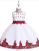 זול שמלות לילדות פרחים-נסיכה באורך  הברך שמלה לנערת הפרחים  - תערובת כותנה\פוליאסטר ללא שרוולים עם תכשיטים עם דוגמא \ הדפס / פרטים מפנינה על ידי LAN TING Express
