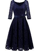 hesapli Romantik Dantel-Kadın's Çan Elbise - Solid Midi
